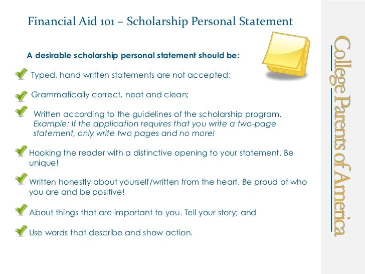 scholarship application sample personal statement