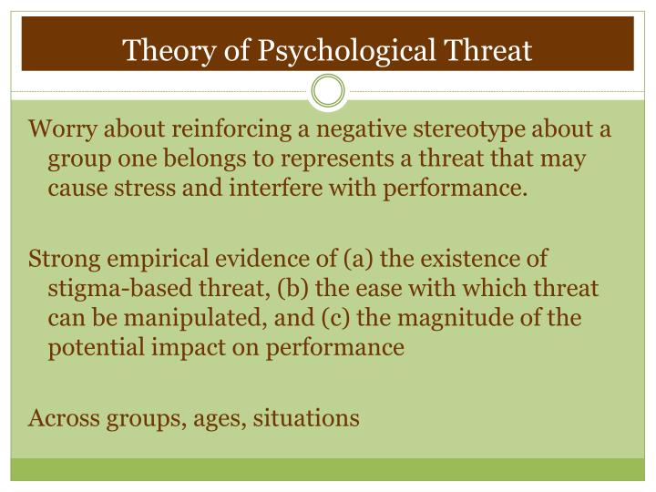stereotype threat theory process and application